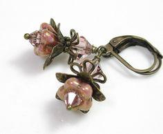 Vintage pink flower earrings.