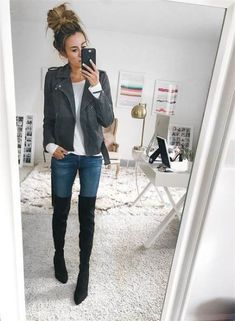These 5 Sale Items Work with Any Outfit – Hello Fashion. White long sleeve tee+skinny jeans+black over the knee boots+grey moto jacket. Fall Casual Outfirt 2017 Source by Grey Boots Outfit, Black Knee High Boots Outfit, Winter Boots Outfits, Outfit Winter, Knee Boots, Over The Knee Boot Outfit, Outfit Jeans, Black Long Boots, Long Black