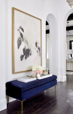 Spring Home Tour - Styled For The Season - By Decor Gold Designs decorated home entry with blue velvet bench and beautiful large artwork Living Room Inspiration, Home Decor Inspiration, Living Room Designs, Living Room Decor, Bench In Living Room, Living Room Artwork, Design Entrée, Design Ideas, Large Scale Art
