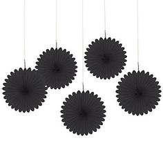 Black - Birthday Party Mini Paper Rosette Fans | BigDotOfHappiness.com