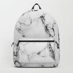 White Faux Marble Texture Backpack by artonwear Cute Mini Backpacks, Trendy Backpacks, Girl Backpacks, Leather Backpacks, School Backpacks, Leather Bags, Backpack For Teens, Small Backpack, Backpack Purse