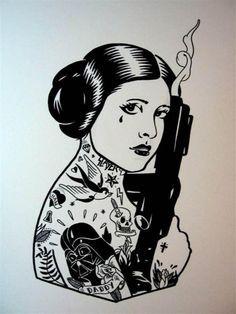 princess leia old school tattoo - Pesquisa Google