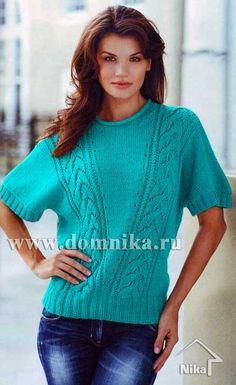 Вязаный пуловер бирюзового цвета