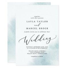 Watercolor Wash Blue Wedding Invite with a simple splash of pastel light blue water color with elegant and classic style. Click to customize with your personalized details today.