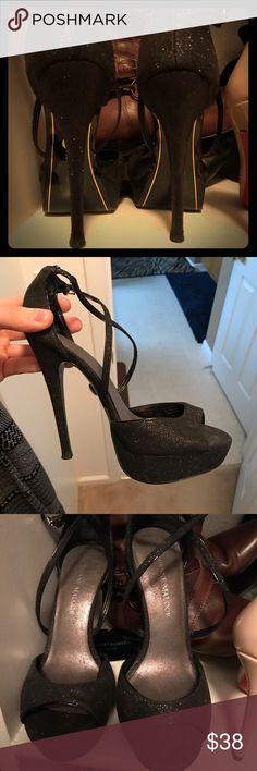 Adrienne Maloof Yvonne Platform Heels Size 7. Adrienne Maloof from the Real Housewives of Beverly Hills. Yvonne Platform Heels in Black Glitter finish. Adrienne Maloof Shoes Heels