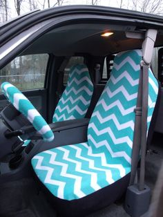 1+Set+of+Turqoise+and+White+Chevron+Print+Seat+by+ChaiLinSews,+$65.00
