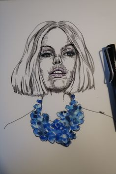 short hair. Fountain pen & watercolor. Reference photo :  Frida Gustavsson.