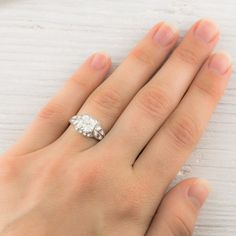 1.80 Carat Vintage Old Mine Cut Diamond Engagement Ring   Erstwhile Jewelry Co.