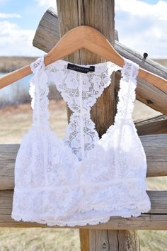 A lacey detail under everything from dresses to sweaters! You will love the lace straps in place of just bra straps. This racerback style bralette is true to size. If you have a bigger bust, try styli