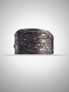 Tooled Black Leather Cuff - wish I could do this!  Love the tapered ends.