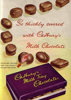Cadbury& all time favorite milk tray chocolates. Poster Retro, Posters Vintage, Retro Ads, Vintage Advertisements, Advertising Signs, Vintage Sweets, Vintage Candy, Vintage Labels, Retro Vintage