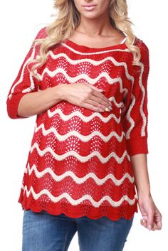 Red Knit Wave Maternity Sweater
