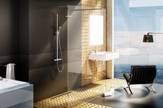 Italian shower with modern faucet in 99 images Contemporary Bathrooms, Modern Bathroom, Contemporary Design, Modern Shower, Bathroom Images, Bathroom Ornaments, Italian Bathroom, Glass Partition, Toilettes Deco