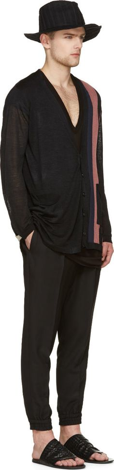 Ann Demeulemeester  Black Silk Colorblock Button-Up Cardigan  51378M053001 Button-up silk anGrosgrain-Trimmed Lounge Pants, Marsèll Black Leather Woven Sheath Sandals, Ann Demeulemeester Black Starched Hat