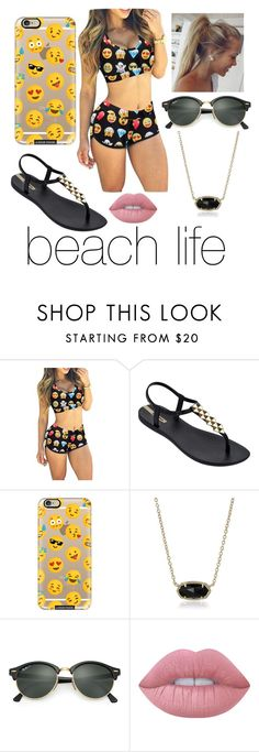 """""""beach life #2"""" by skylar0629 ❤ liked on Polyvore featuring IPANEMA, Casetify, Kendra Scott, Ray-Ban and Lime Crime"""
