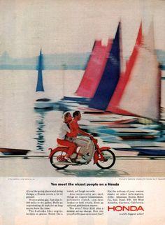 1964 Honda Scooter print ad 50cc engine Sailboats and by Vividiom, $8.00