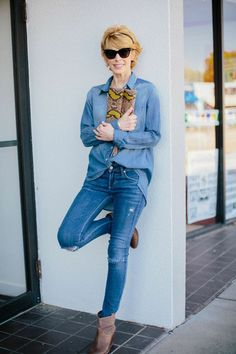 Cathy of The Middle Page in All Denim Moving To Dallas, Denim Shirt, 5 Ways, Style Guides, Classic Style, Personal Style, That Look, Hipster, Boutique