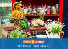 Make Teapot Flower Bouquets to create a fairytale feel to your home or garden. These little guys are super easy, and all you need are old tea sets and your favorite flower or succulent. DIY by @kennethwingard on Home and Family!