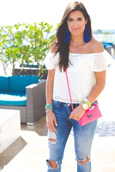 white off the shoulder top, off the shoulder frill top, beach style, beach fashion, vacation outfit, vacation style, pink crossbody bag, fuchsia crossbody bag, blue tassel earrings, blue statement earrings, chan luu turquoise wrap bracelets // grace wainwright from a southern drawl