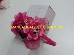 Tutorial diademas, Pap flor en cinta, Accesorios Niñas, Tiaras faciles, ...