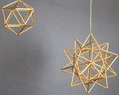 "Brass Pollen ball mobile - finnish himmeli sculpture - MEDIUM - 6.25"" sphere (16cm). $87.00, via Etsy. Geometric Star, Sacred Geometry, Scandinavian, Etsy Seller, Delicate, Brass, Ceiling Lights, Sculpture, Unique Jewelry"