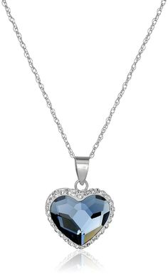 Sterling Silver Swarovski Elements Two Tone Heart Pendant Necklace, 18' *** Read more  at the image link.