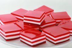 Valentine's 5-Layer Finger Jello Strawberry, Cherry and Raspberry Jell-O with condensed milk