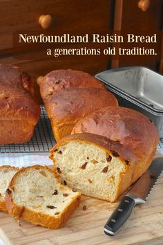 Newfoundland Raisin Bread - a traditional sweet bread made in Newfoundland families for generations. It's delicious fresh or toasted or turned into French toast with a drizzle of molasses.