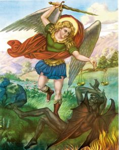St. Michael is often portrayed wearing armour, vanquishing Satan in the form of a snake, dragon or demon with a spear or sword. He is often also shown holding a pair of scales in which he weighs the souls of the dead