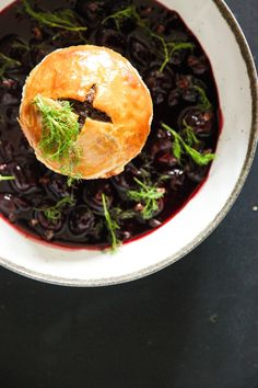 Try these pulled venison pies with gin and juniper berries, served with a tangy, yet sweet red wine and cherry sauce and sprinkled with crunchy cacao nibs. Venison Pie, Sweet Red Wines, Individual Pies, Cherry Sauce, Juniper Berry, Cacao Nibs, Seaweed Salad, Gin, Cravings