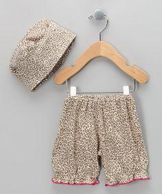 Cheetah Chic Organic Bloomers & Beanie - Infant by Barn Organics