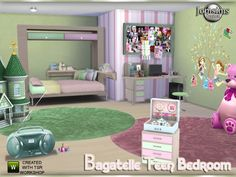 The Sims Resource: Bagatelle teen bedroom by Jomsims • Sims 4 Downloads