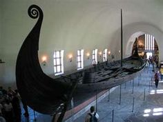Viking ship in museum in Oslo, Norway found under a burial mound