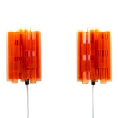 RESERVED - NO. 1217 - pair of sconces by Claus Bolby for CEBO, 1970s. Danish vintage light design. Cute pair of orange Plexiglas wall lamps. by DanishVintageDesigns on Etsy