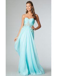 A-line Sweetheart Long Beaded Chiffon Prom Evening Formal Dresses 601083