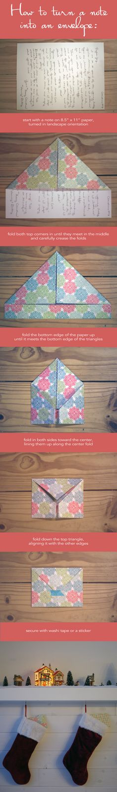 How to Fold a Note into an Envelope great for letters of love at Christmas
