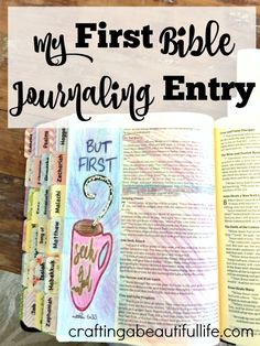 bible journaling and making your first bible journal entry. Quick and easy ways to make a bible journal entry using printable bookmarks that you can color. My Bible, Bible Art, Bible Verses, Scriptures, Scripture Journal, Bible Journaling For Beginners, Art Journaling, Journal Entries, Journal Prompts