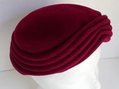 """VTG Womens Burgundy Red Felted Wool Pillbox Hat - Andrea Fashions New York 23"""" #AndreaFashions #Pillbox"""