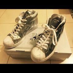 b5b2f45fba7c7 A Bathing Bape Shoes   A Bathing Bape Silver Metallic Sneaker   Color:  Silver   Size: 8