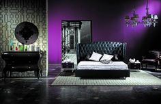 Deep purple feature wall, black and white everything else.
