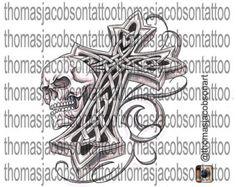 Celtic Cross Tattoo Design by thomasjacobsonart on Etsy