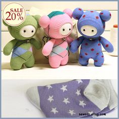 Sock doll DIY kits . bear light purple grey stars . by SewSir