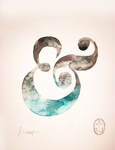 Ampersand original watercolor by AnchorsEndDesigns on Etsy, $25.00