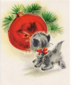 Kitty Cat Kitten Ornament Gaze Hallmark Shiny Brite VTG Christmas Greeting Card