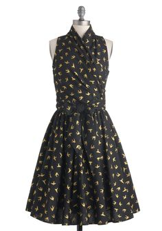 Front Perch Swing Dress in Black - Print with Animals, Cotton, Long, Black, Yellow, Belted, Party, A-line, Sleeveless, Variation