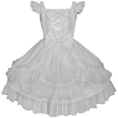Partiss Womens White Ruffled Cap Sleeves Sweet Bow Lolita Dress ($70) ❤ liked on Polyvore featuring dresses, white bow dress, white flounce dress, frilled dress, bow dress and frilly dresses