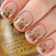 A simple yet very pretty Christmas nail art that you can follow. Using clear base coat the nails are then topped with silver glitter as well as green and red stencils for effect.