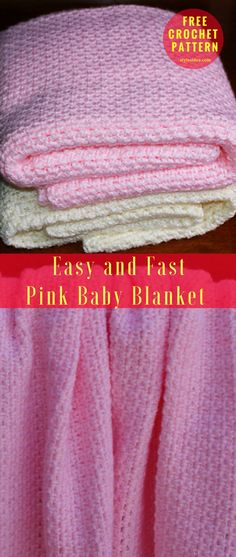 Easy and Fast Pink Baby Blanket [Free Crochet Pattern]  Skill Crochet Level: Beginner. It should take the normal crafter somewhere close to 10 and 20 hours to finish. #crochet #crochetbalnket #freepattern