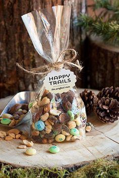 Great idea for a woodland wedding favor. Wish your guests Happy Trails as they leave your forest wedding with the perfect mix of nuts and candy.