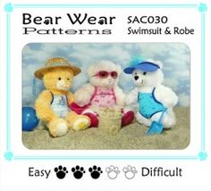 Teddy bear clothes pattern. Swim suits for Build-a-Bear animals
